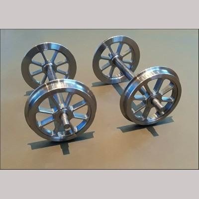 """5"""" g. 8 Spoke machined steel Wagon Wheel Sets - 4 Wheels, 2 Axles"""