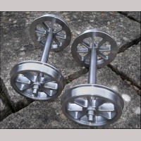 7¼ inch gauge: CNC machined 8 spoke wheels on axles, Set of 4.